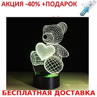 Настольный электрический светильник с 3D эффектом медведь с сердцем + монопод для селфи