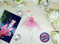 Топпер танцующая девушка с фатином в блестках, девушка в фатиновом платье, топпер балерина в платье, Fortune3D