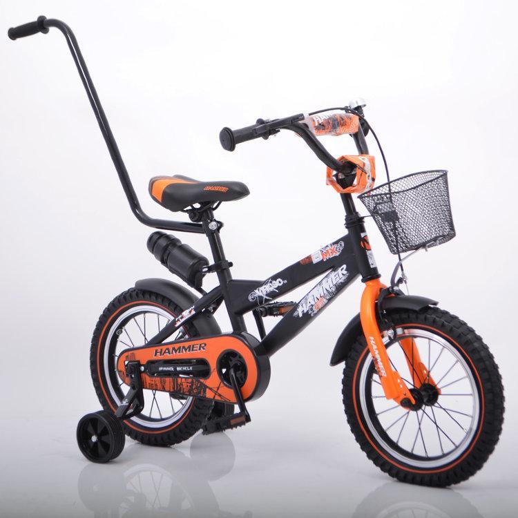 """Дитячий Велосипед з ручкою """"HAMMER-14"""" S600 Колеса 14""""х2,4' Чорно-помаранчевий"""