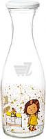 Декорированная бутылка 1 л стеклянная для компота, сока и молока Gapchinska Кекс Everglass