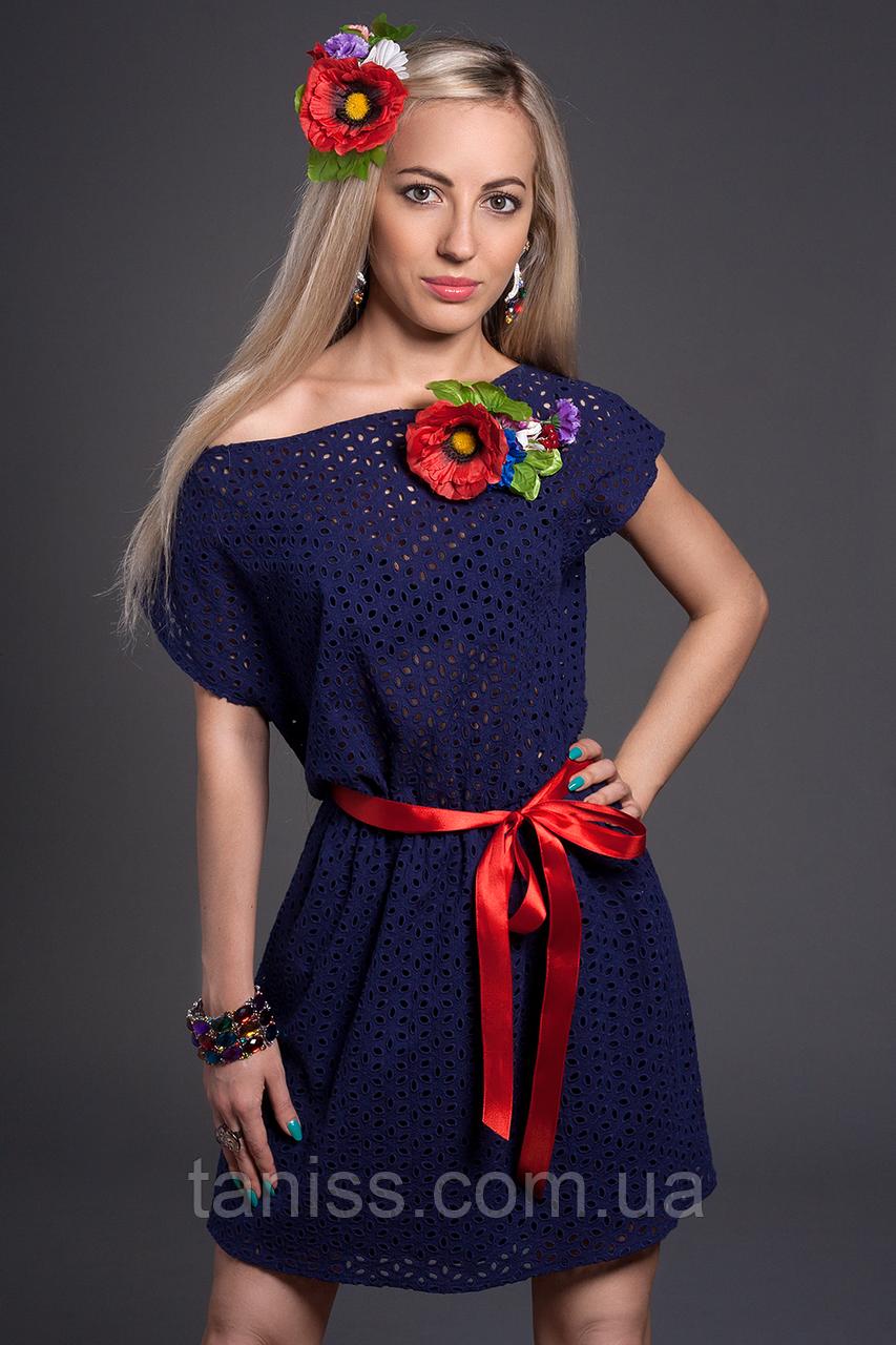 Короткий молодіжне літнє плаття ,тканина прошва, натуральна х/б, пояс та квітка в компл р. 44-46 синій (436)