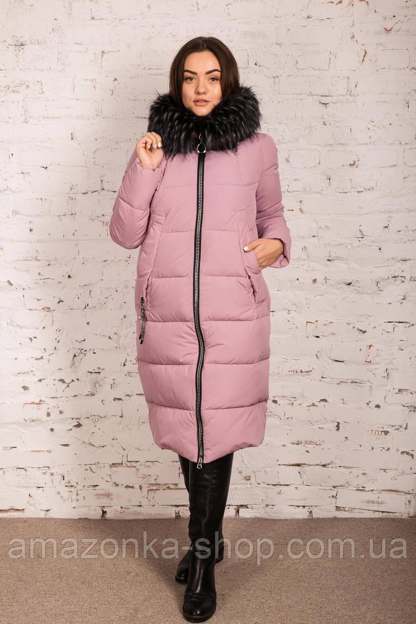 Удлиненное пальто для женщин на зиму с экопухом сезон 2020 - (модель кт-662)