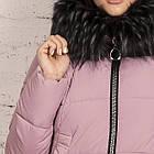 Удлиненное пальто для женщин на зиму с экопухом сезон 2020 - (модель кт-662), фото 2