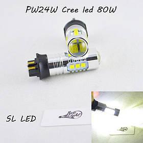 Led лампа в габарит, ДХО SLP LED, цоколь PW24W 16 Cree led, 9-30 В. Белый, Canbus