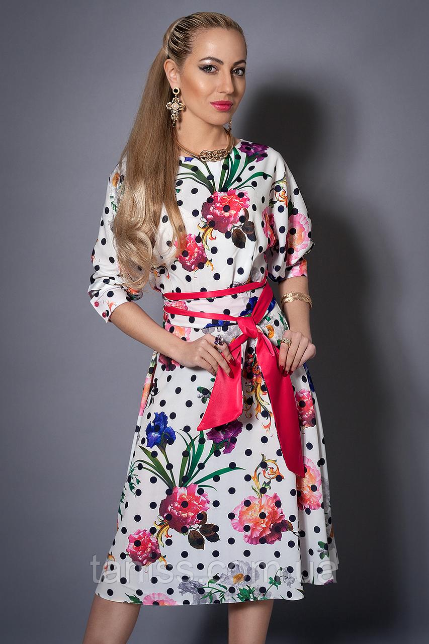 Молодежное нарядное платье ,ткань стрейч атлас, пояс в комплекте, ниже колена р. 44-46,46-48 белое