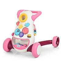 Ходунки-толкатель музыкальные. Игровой центр 2в1. Розовый цвет.