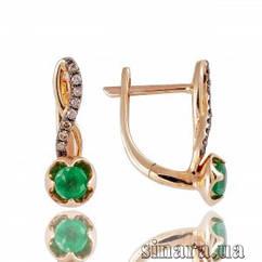 Золотые серьги с бриллиантами и изумрудами 26871