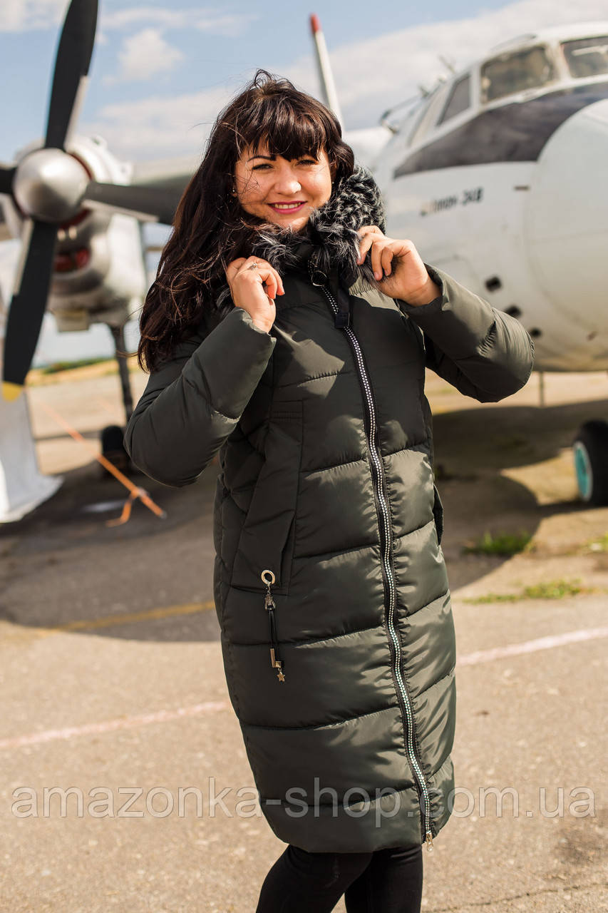 Удлиненное пальто для женщин на зиму с экопухом сезон 2020 - (модель кт-670)