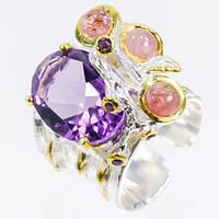 Кольцо ручной работы с натуральным Аметистом и розовым Турмалином / Рубиновая Мечта