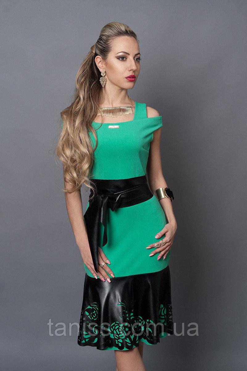 Нарядное, деловое, летнее платье, отделка из экокожи, ткань итальянский креп р. 40,44,46,48 бирюза  (247)