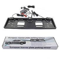 Универсальная рамка для номера с камерой заднего хода EU Car Plate Camera 16 LED Silver +Power Bank