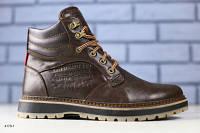 Ботинки мужские , зимние, на шнурках, коричневые 4