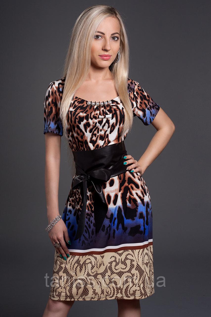 Нарядное, деловое, летнее платье,пояс из экокожи, ткань микромасло р. 46,48,50,52 синий  (350)
