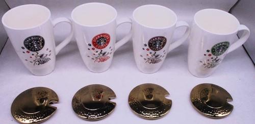 Чашка керамическая 500 мл с крышкой и ложечкой в индивидуальной упаковке