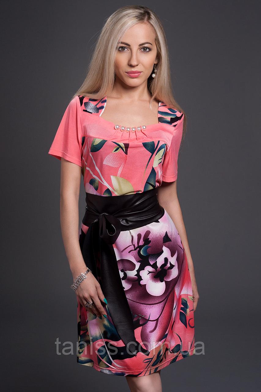 Нарядное, деловое, летнее платье,пояс из экокожи, ткань микромасло р. 48,50,52 коралл  (350)