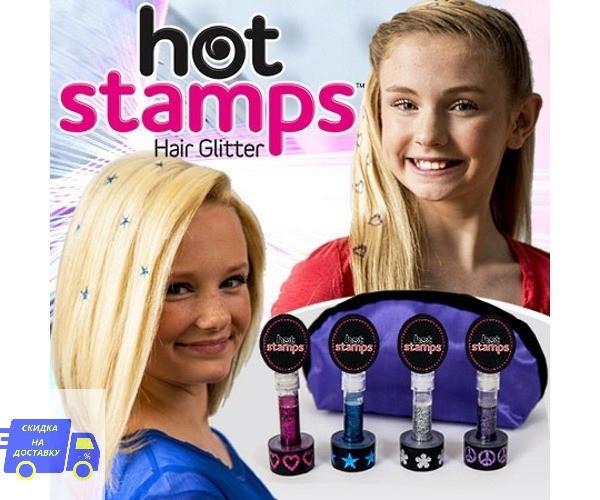 Набор Hot stamps для волос | Наклейки и штампы с узорами на волосы