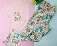 Хлопковая Пижама в единороги.Одежда для сна и дома. Жіноча піжама. Комплект жіночий. Хлопковий комплект