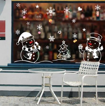 """Силиконовые новогодние наклейки """"Снеговики"""" - размер стикера 70*50см"""