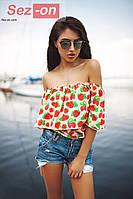 Блузка женская с открытыми плечами Клубнички - Розовый