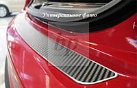 Защитная хром накладка на задний бампер (планка без загиба) Honda CR-V III FL (хонда срв 3 фейслифтинг 2010+)