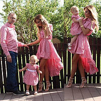 Парная одежда мама папа дочка сын (клетка)