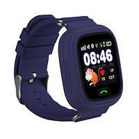 Умные детские часы Smart Baby Watch Q90 с GPS трекером (Оригинал) темно синие