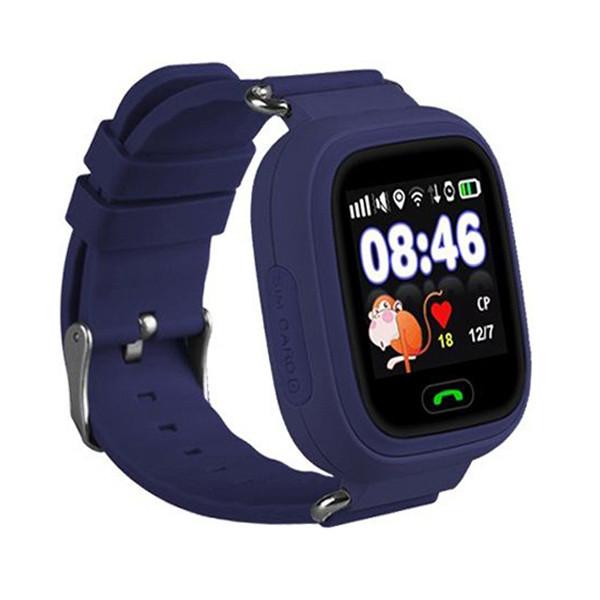 Розумні дитячі годинник Smart Baby Watch Q90 з GPS трекером темно-сині оригінал