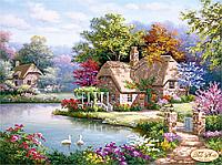 """Вишивка бісером """"Будинок мрії. Котедж біля ставка."""""""