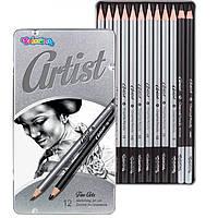 Карандаши чернографитные простые, набор 12шт Colorino Artist 4H-6B в металлической коробке 80118
