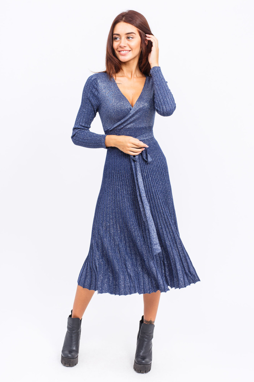 Платье на запах с поясом люрекс LUREX - синий цвет, M (есть размеры)