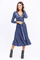 Платье на запах с поясом люрекс LUREX - синий цвет, M (есть размеры), фото 1