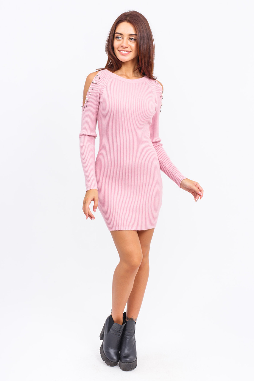 Туника с открытыми плечами LUREX - розовый цвет, S (есть размеры)