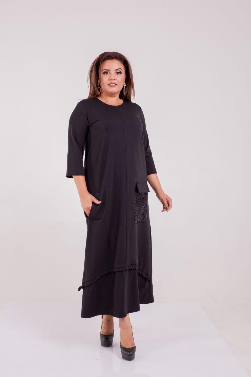 Осеннее трикотажное платье черное 8316