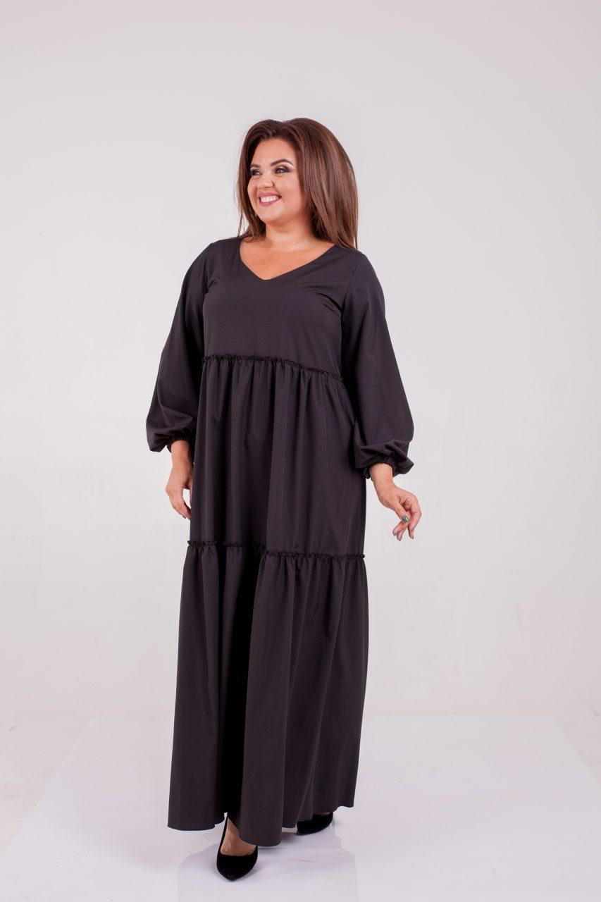 Осеннее платье серого цвета 8324