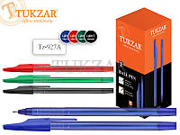 Ручка шариковаяцветной прозрачный пластиковый корпус с рельефным держателем и колпачком, наконечник глянцевый  Разные цвета