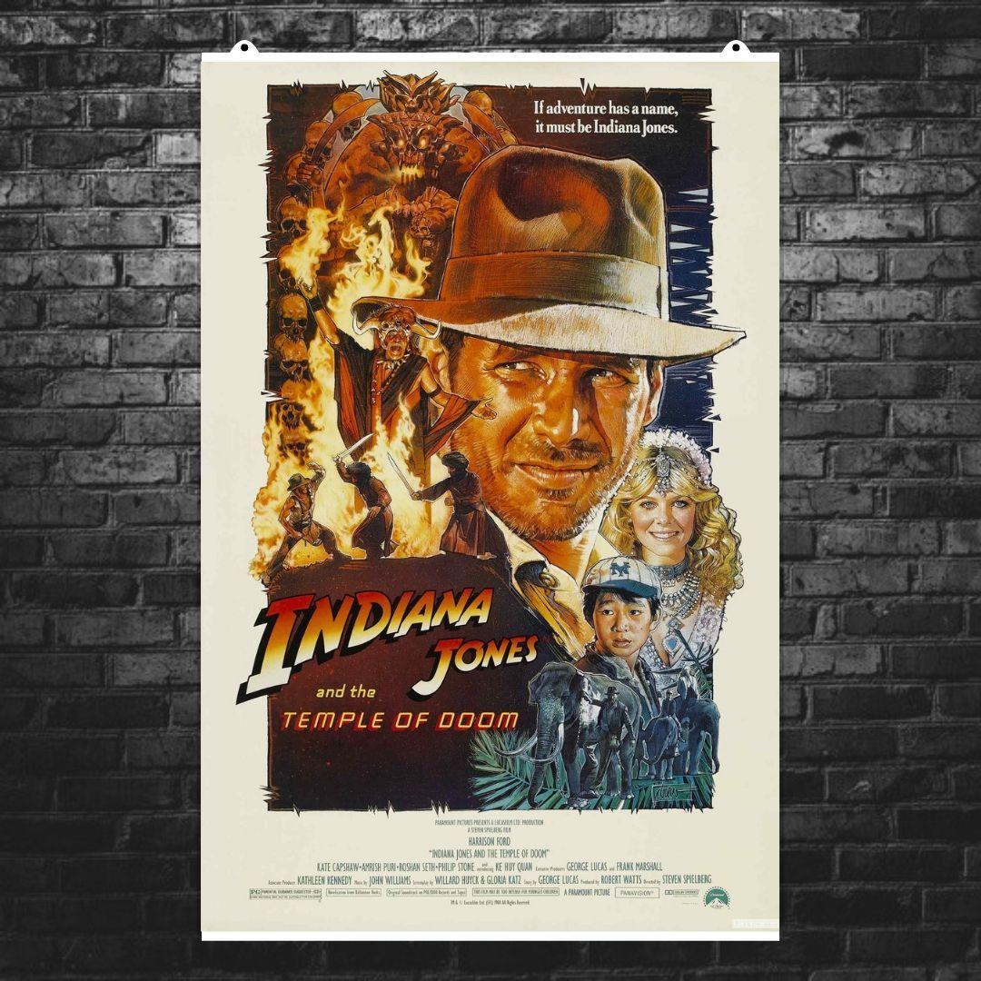 "Постер ""Индиана Джонс и Храм Судьбы"". Indiana Jones and the Temple of Doom (1984). Размер 60x40см (A2). Глянцевая бумага"