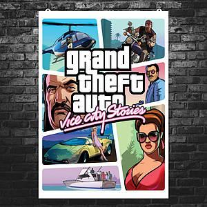 Постер GTA: Vice City Stories. Размер 60x49см (A2). Глянцевая бумага
