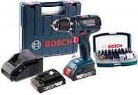 Аккумуляторная дрель-шуруповерт Bosch GSR 18-2-LI Plus + 2 акб + AL 1820 CV + набор 32 бит + чемодан (06019E612D)