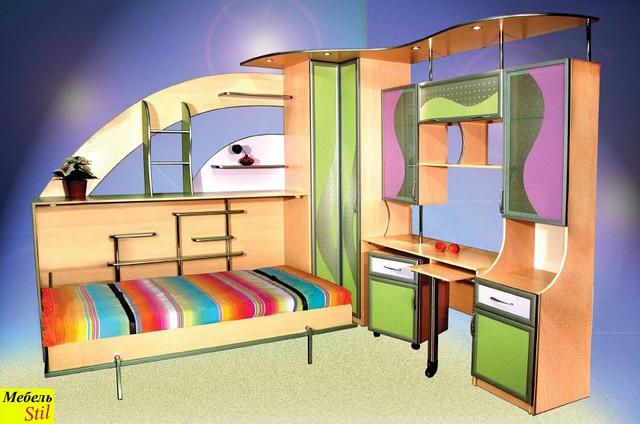 Горизонтальная шкаф-кровать в детскую, фото 1