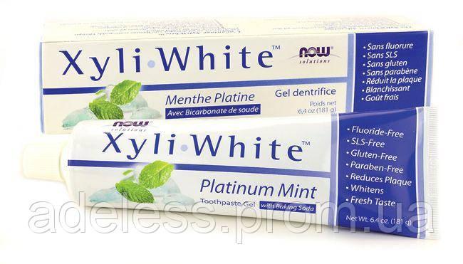 Зубная паста-гель с мятой и пищевой содой БЕЗ ФТОРА Now Foods Xyli White Platinum mint, 181g