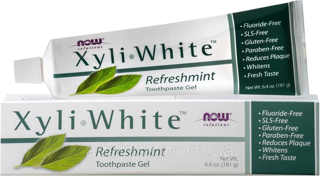 Зубная паста-гель с мятой БЕЗ ФТОРА Now Foods Xyli-White Refreshmint Toothpaste Gel, 181g
