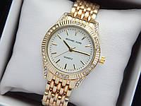 Жіночі кварцові наручні годинники копія Michael Kors (Майкл Корс) золото з камінчиками, білий циферблат, фото 1
