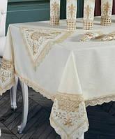 Скатерть Isadora Gelencik 160х220см с кружевами, белая с золотом
