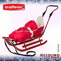 Комплект Adbor Piccolino санки+ручка+конверт+подножки(122) Красный