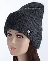 Теплая шапка с отворотом Хаски черный+маренго