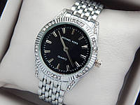 Женские кварцевые наручные часы копия Michael Kors (Майкл Корс) серебро с камушками, черный циферблат