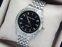 Жіночі кварцові наручні годинники копія Michael Kors (Майкл Корс) срібло з камінчиками, чорний циферблат, фото 1