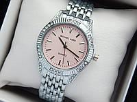 Женские кварцевые наручные часы копия Michael Kors (Майкл Корс) серебро с камушками, розовый циферблат