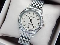 Женские кварцевые наручные часы Michael Kors (Майкл Корс) серебро с камушками, белый циферблат