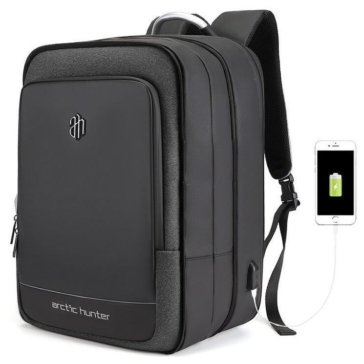 Деловой бизнес-рюкзак портфель Arctic Hunter B00227L с расширителем 10см, USB портом, объемом до 41л